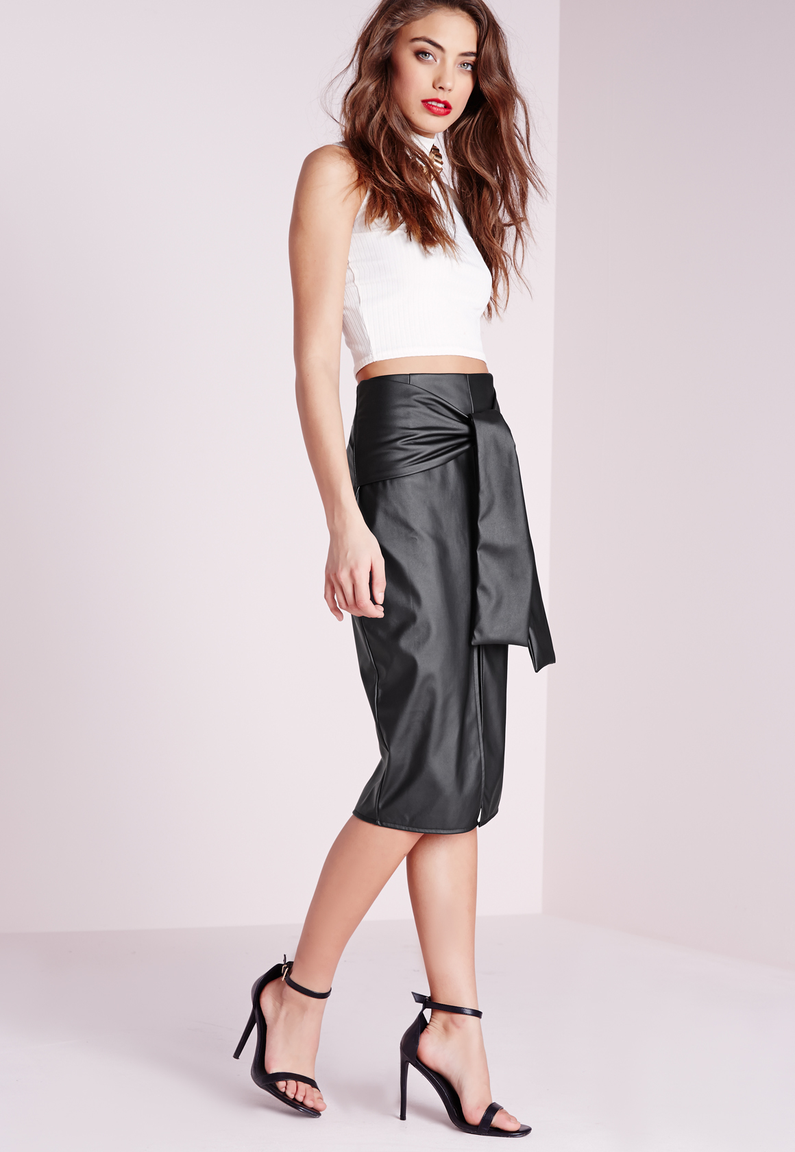 Missguided Tie Waist Faux Leather Midi Skirt Black in Black | Lyst