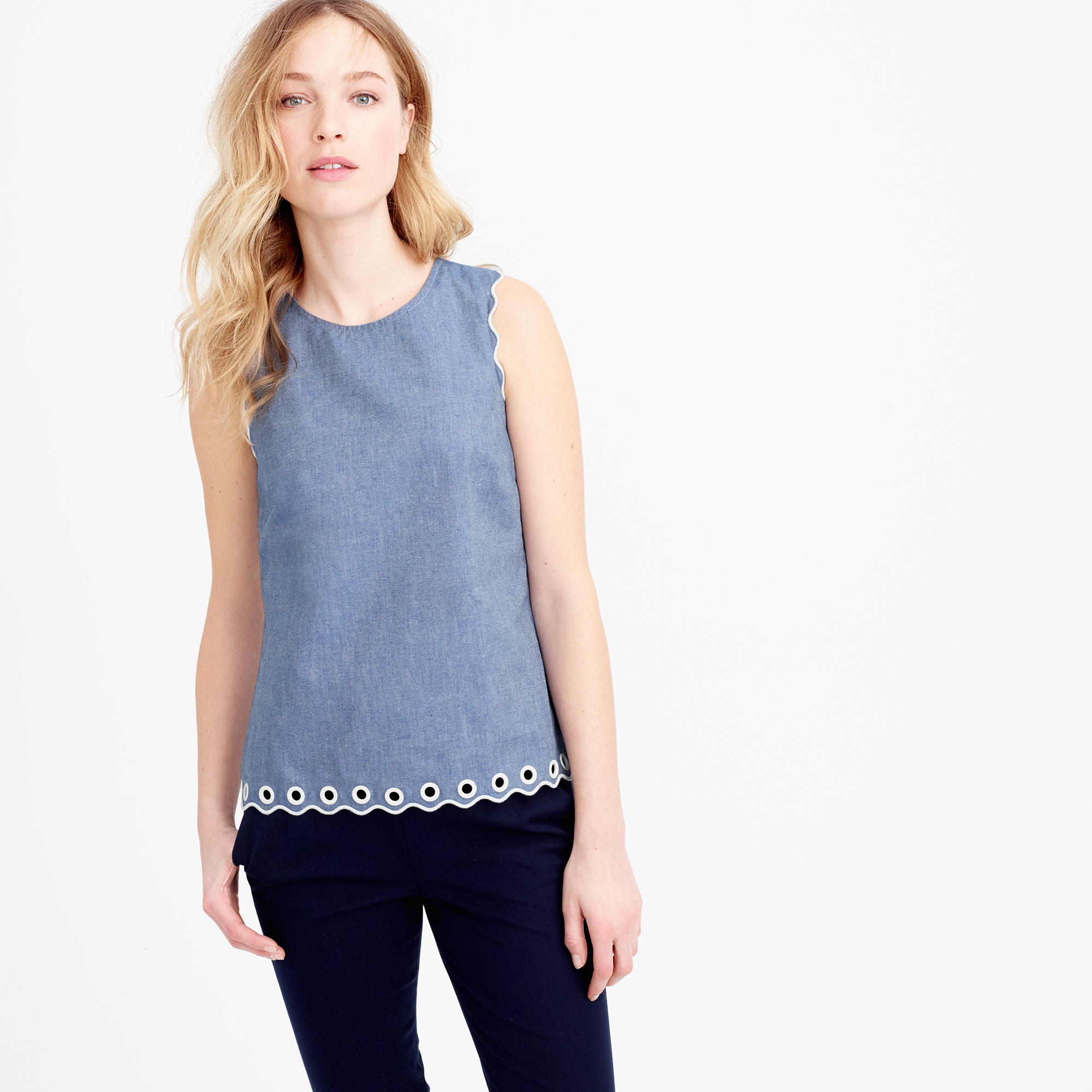 Petite chambray scalloped top with grommets in blue for Jcrew com