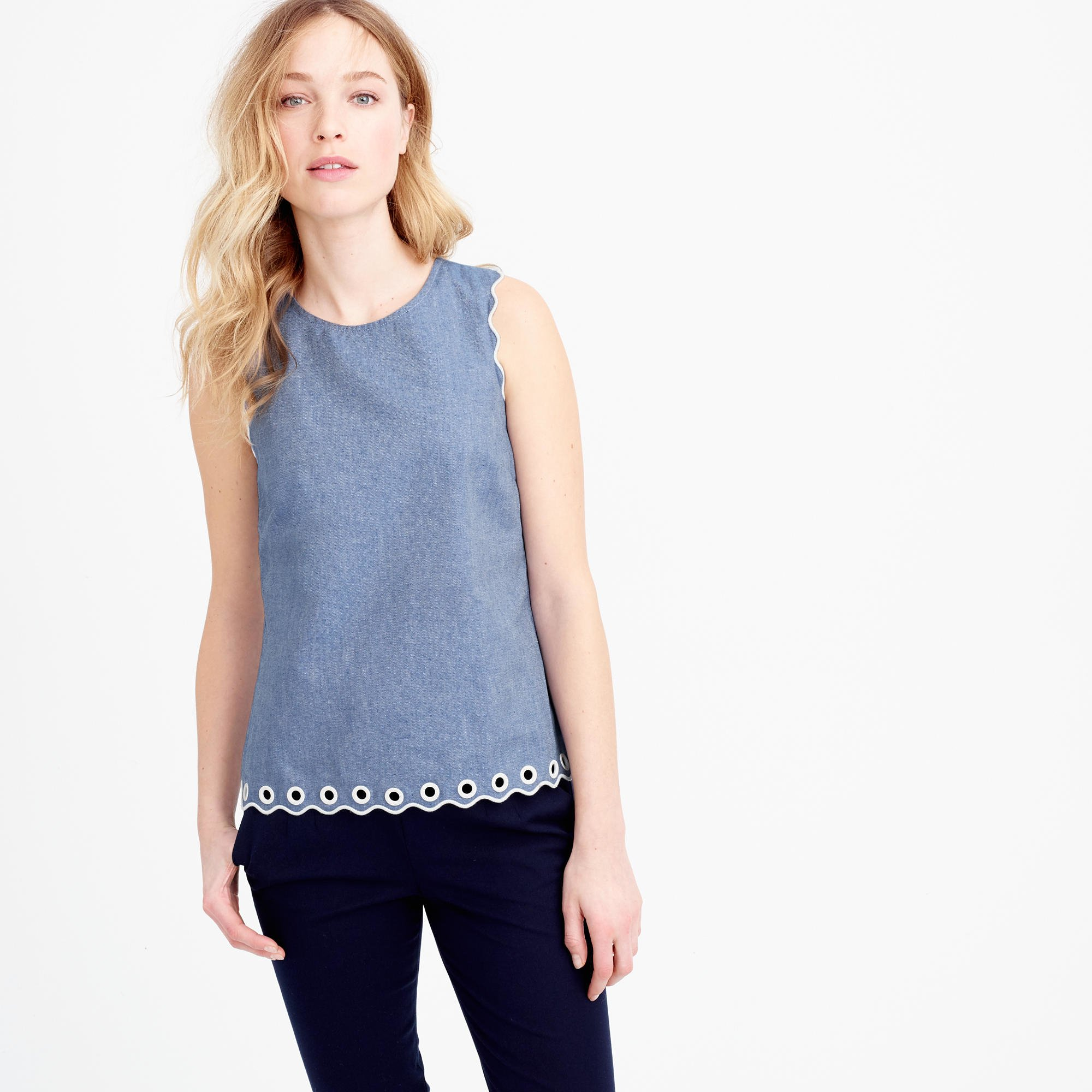 Petite chambray scalloped top with grommets in blue for Chambray top
