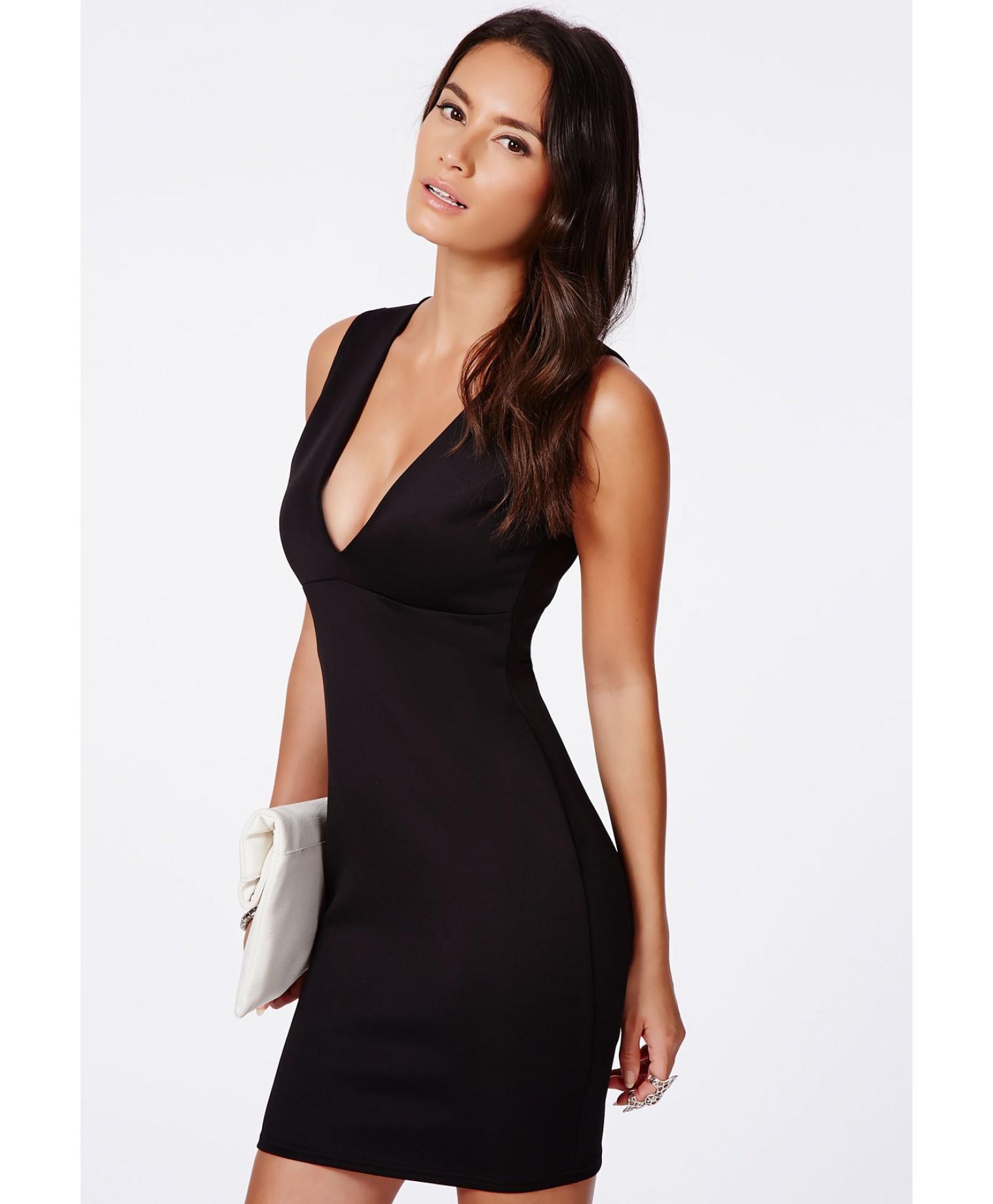 c91f5658ff1e Lyst - Missguided Kesari Black Plunge Neck Bodycon Mini Dress in Black