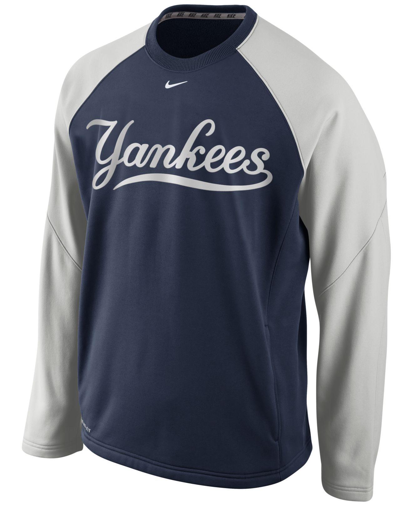 Nike Men's New York Yankees Therma-fit 1.4 Crew Sweatshirt in Blue ...