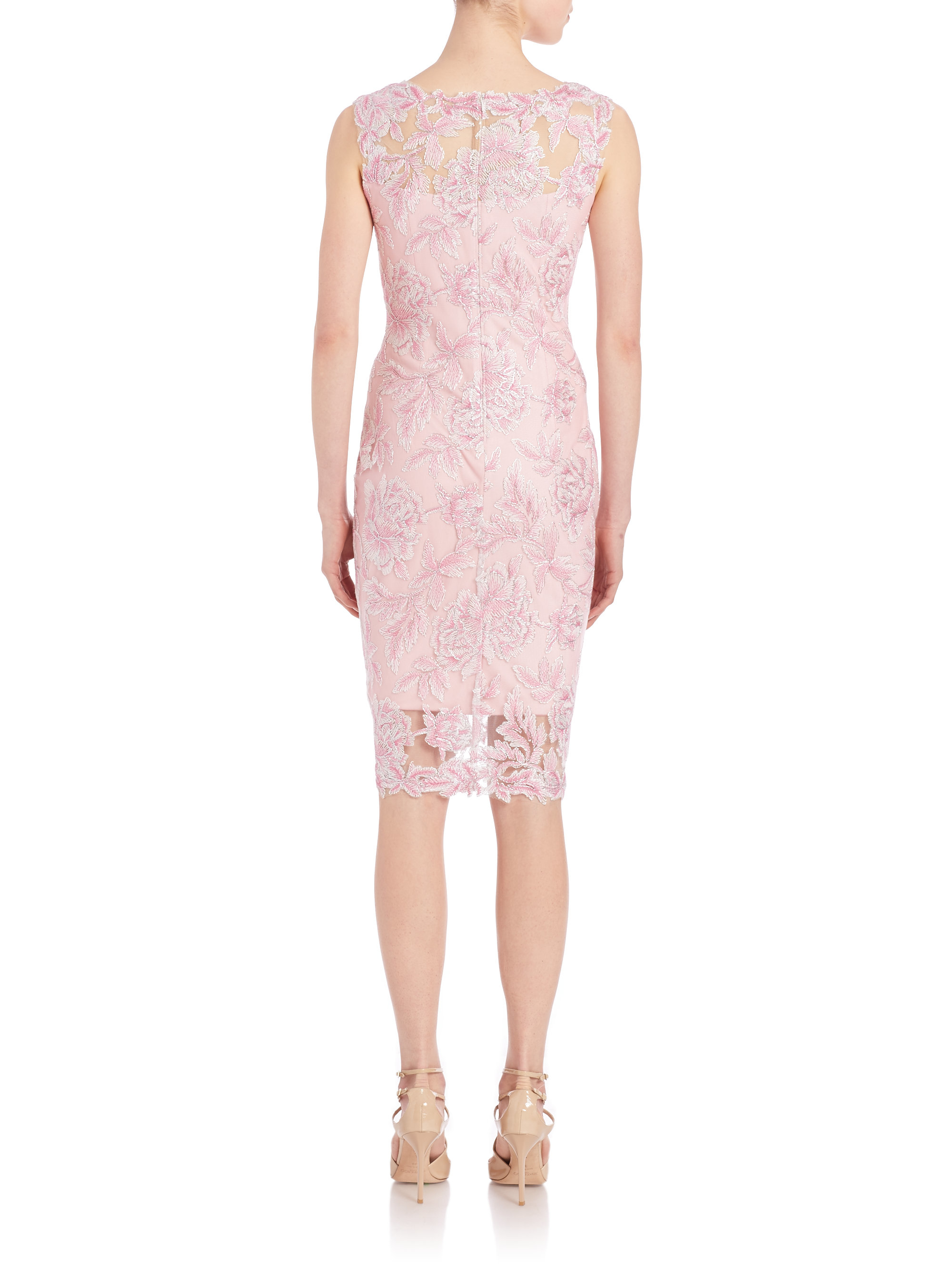 Short Pink Lace Sheath Dress
