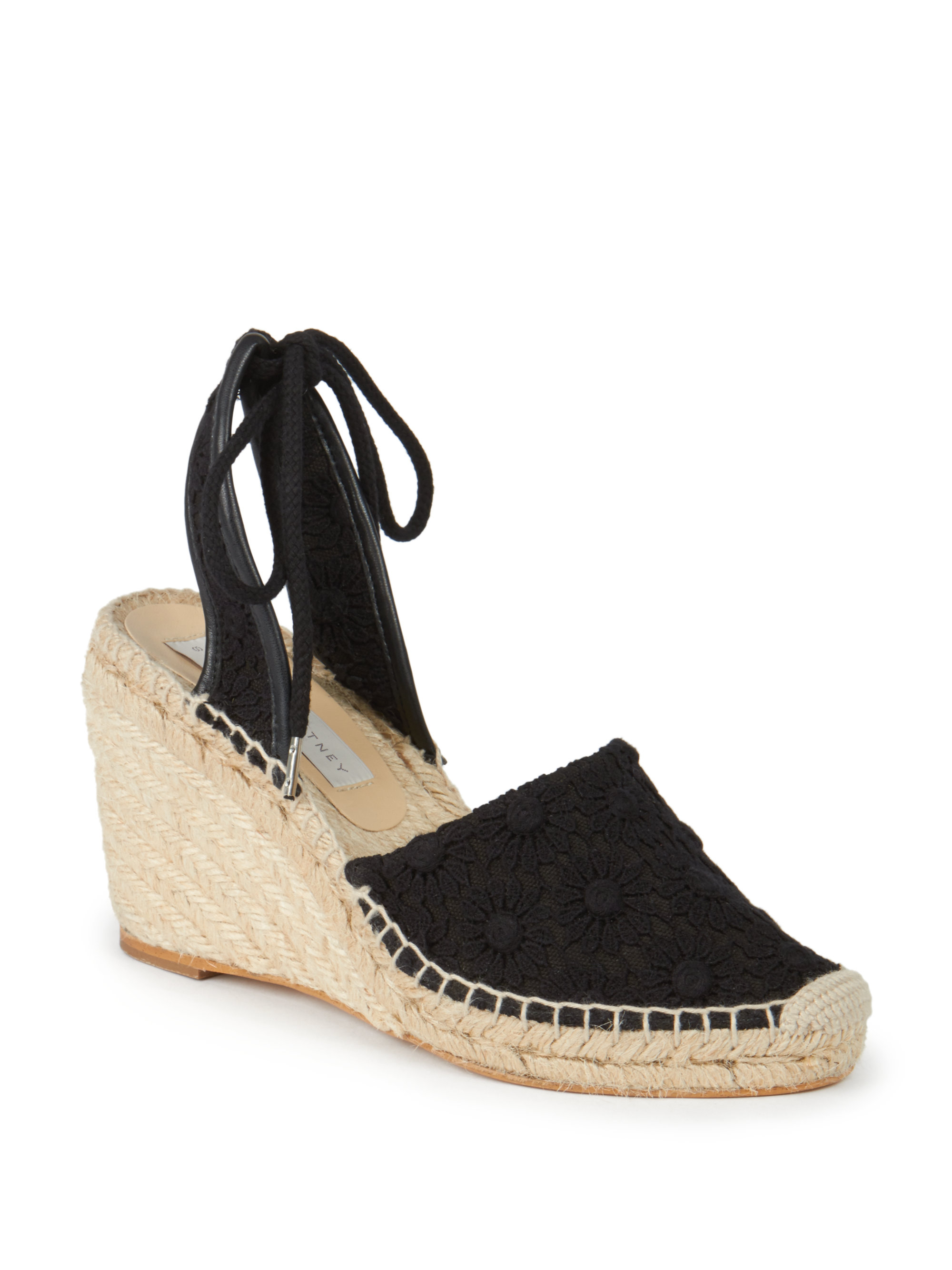 Lyst Stella Mccartney Lace Espadrille Wedge Sandals In Black