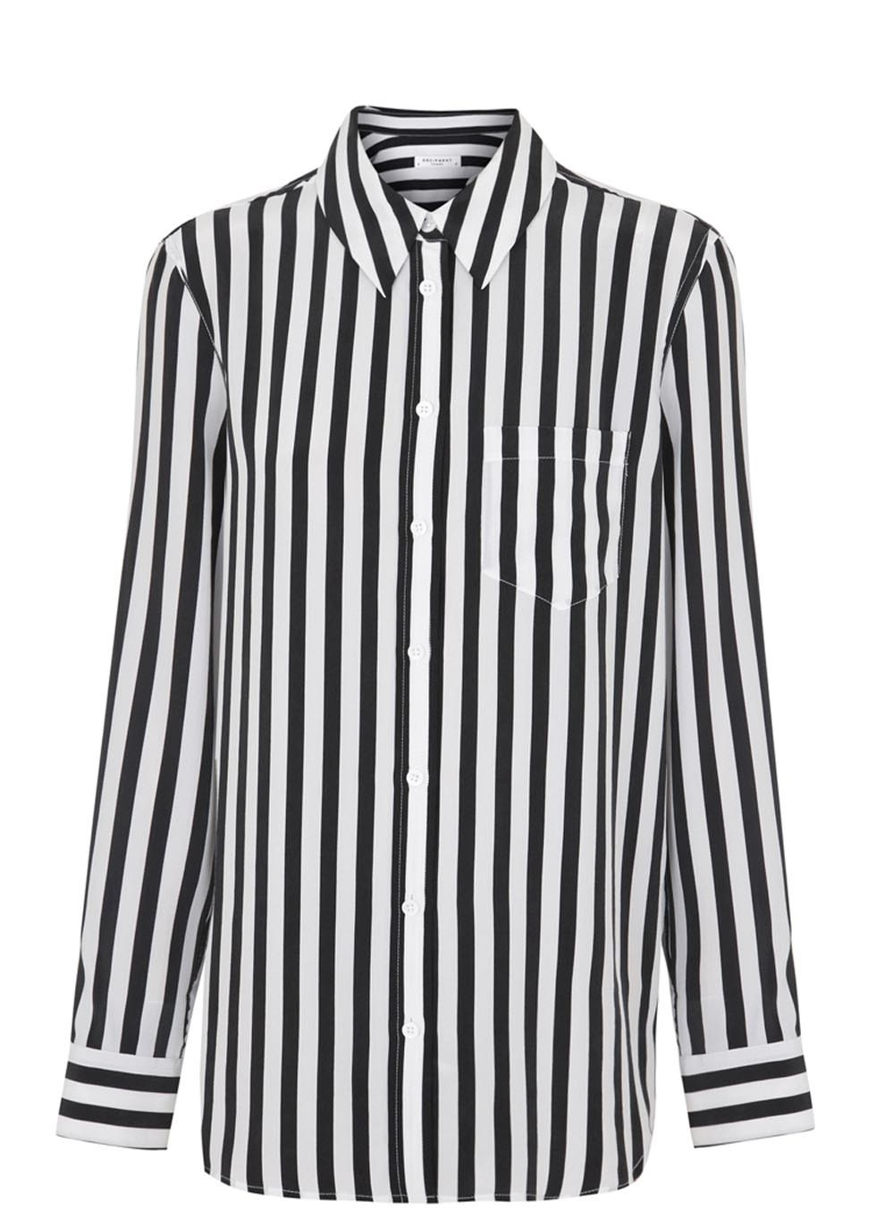 16233970160df Equipment Reese Black and White Striped Silk Blouse in Black - Lyst