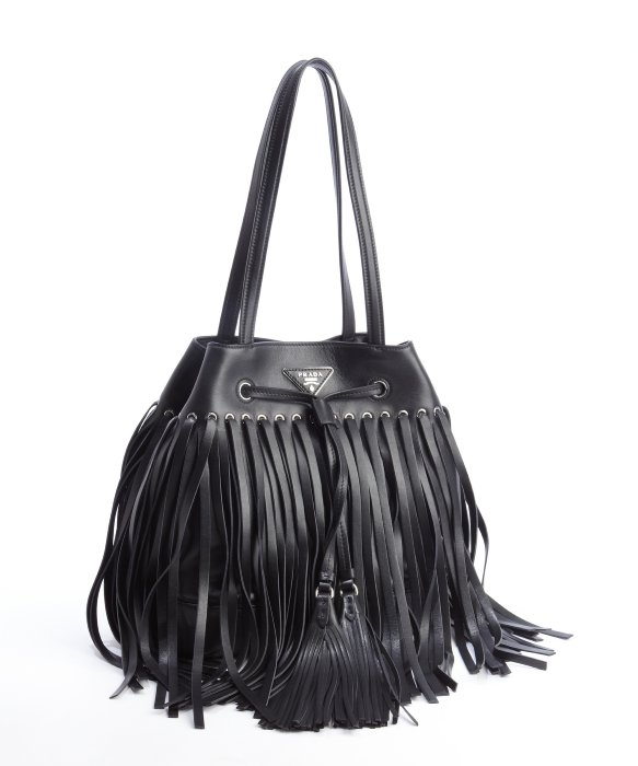 9366981cacac66 ... best price lyst prada black leather fringe top handle bucket bag in  black d340c 3b681