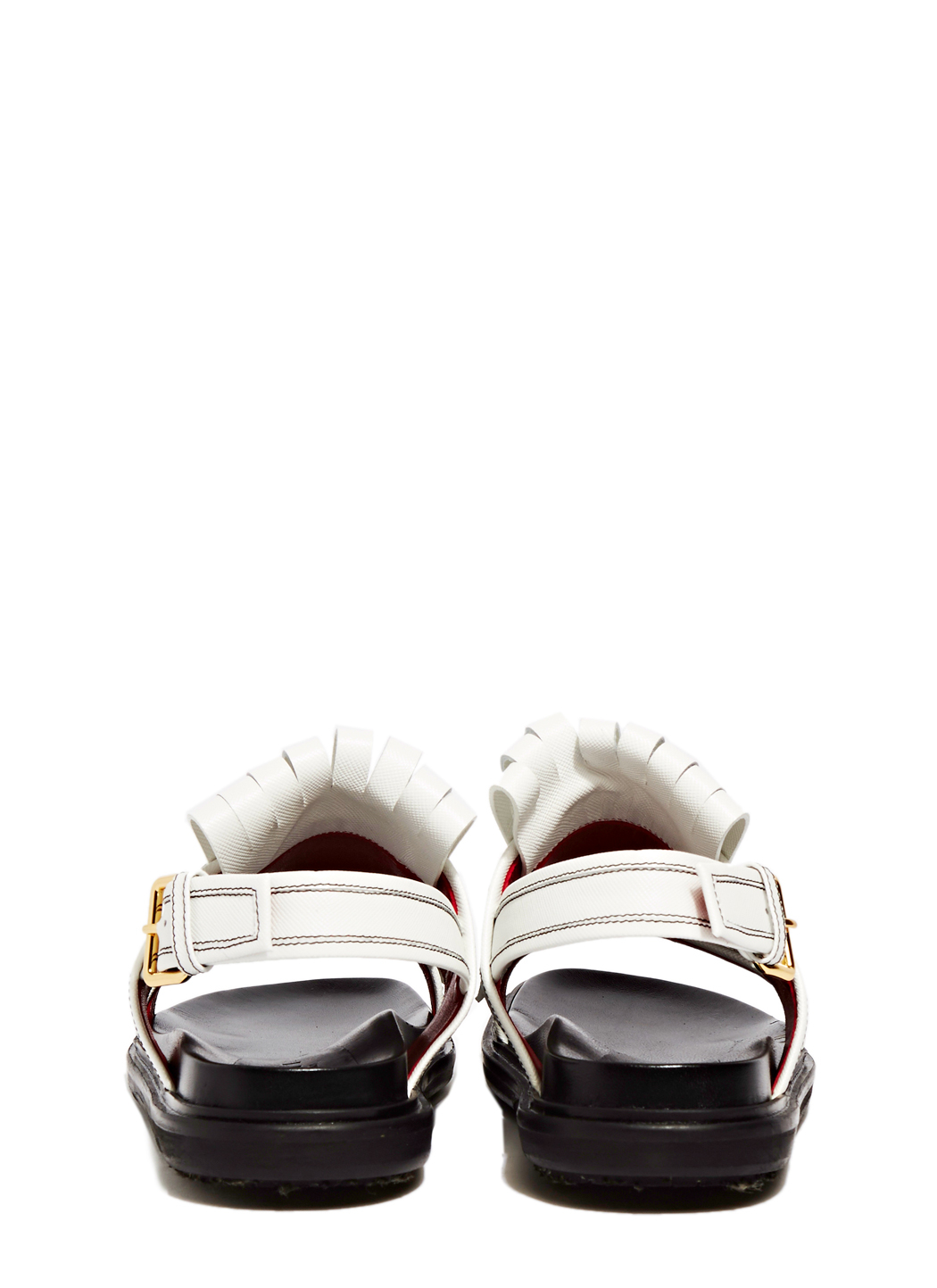 Lyst Marni Leather Fringe Sandals In White