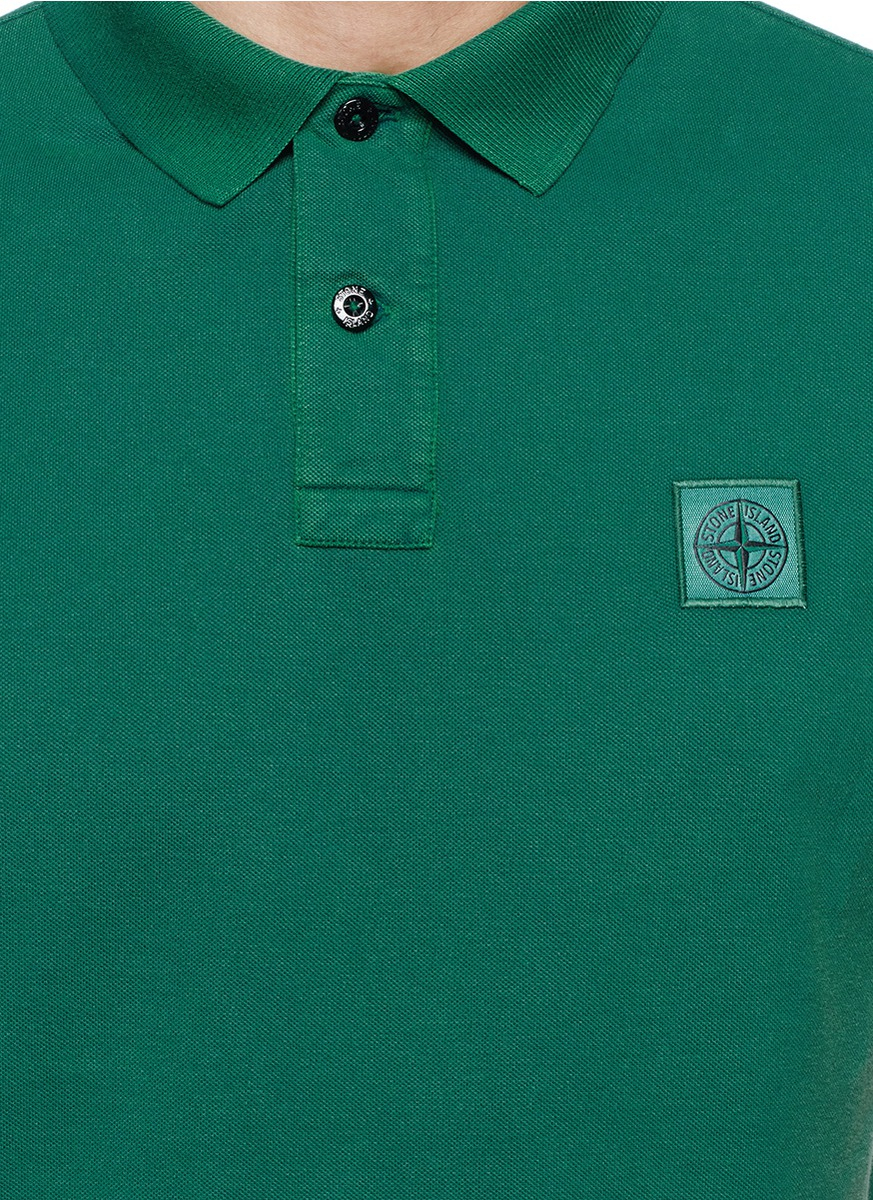Lyst Stone Island Garment Dye Cotton Piqu Polo Shirt In Green For Men