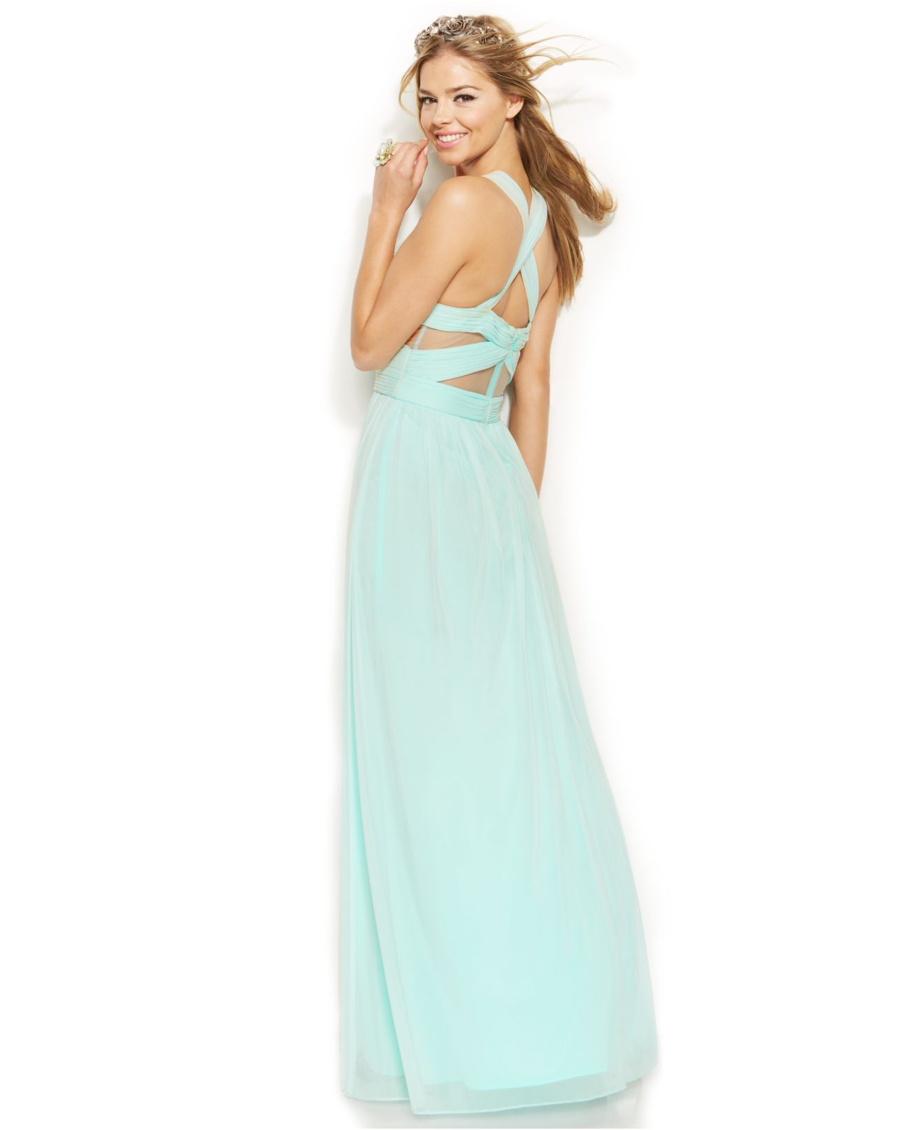Lyst - Betsy & Adam Sleeveless Illusion Cutout Gown in Green