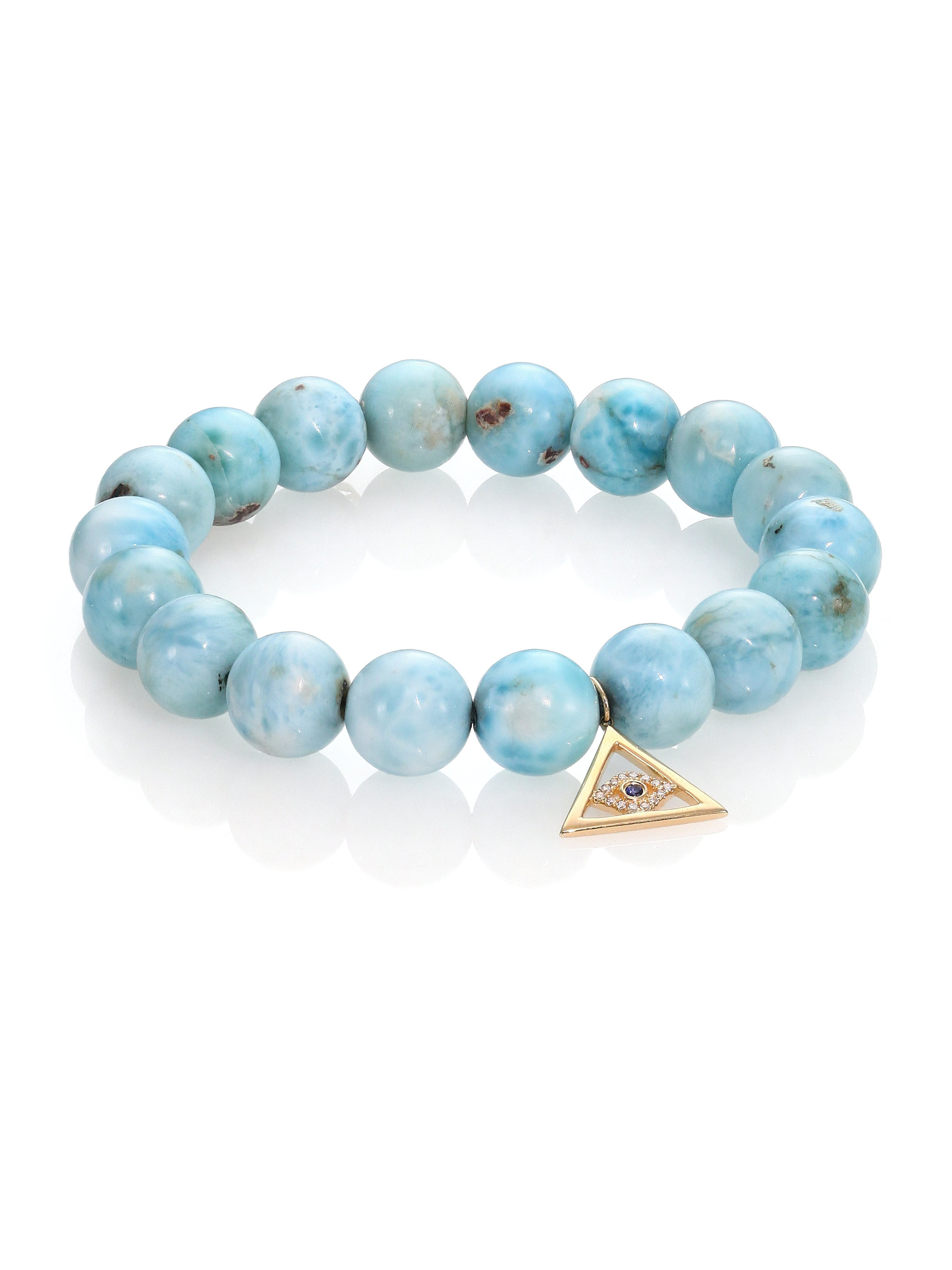 Sydney Evan 14k Larimar Beaded Stretch Bracelet w/ Moroccan Star