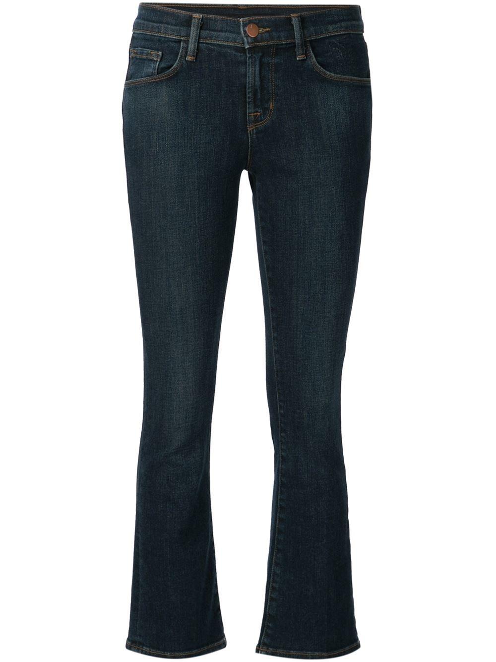 lyst j brand cropped jeans in blue. Black Bedroom Furniture Sets. Home Design Ideas