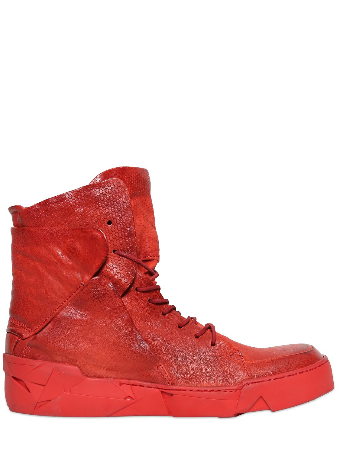 98 Best Designer Jean Louis Sabaji Images On Pinterest: A.S.98 Embossed Leather High Top Sneakers In Red