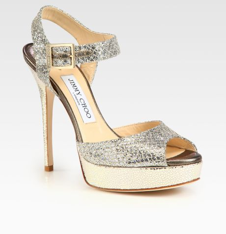 Jimmy Choo Linda Glitter Coated Leather Platform Sandals in Gold (champagne)