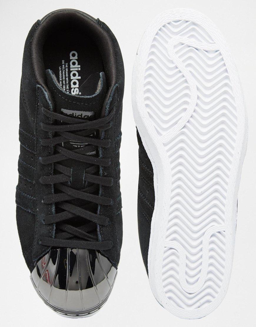 d26cafec54a1c adidas Originals Originals Black Suede Superstar Up Metal Toe Cap Trainers  in Metallic - Lyst