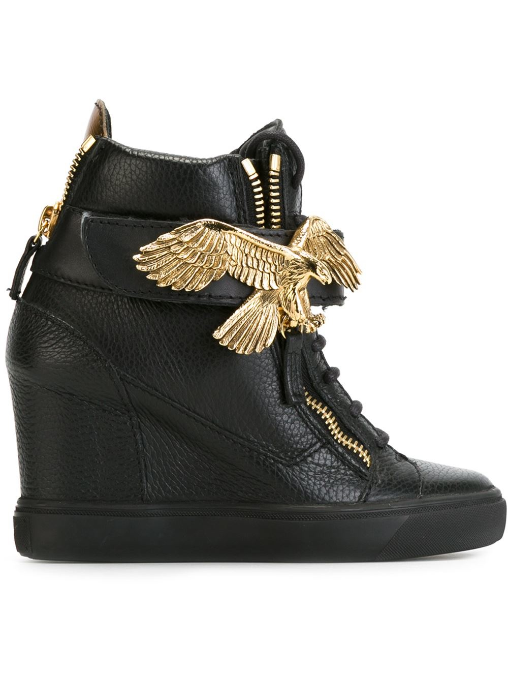 Giuseppe zanotti Eagle Print Wedge Heel Hi-top Sneakers in Black ...