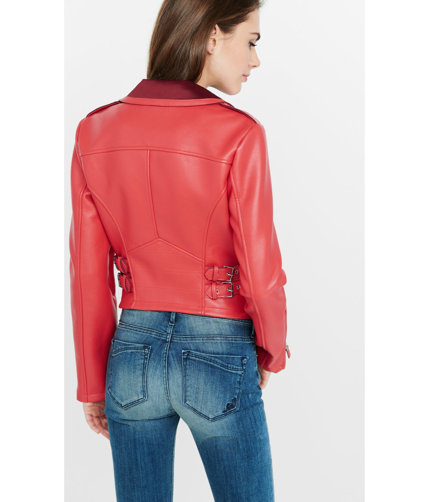 Lyst Express Red Color Block Minus The Leather Jacket In Red
