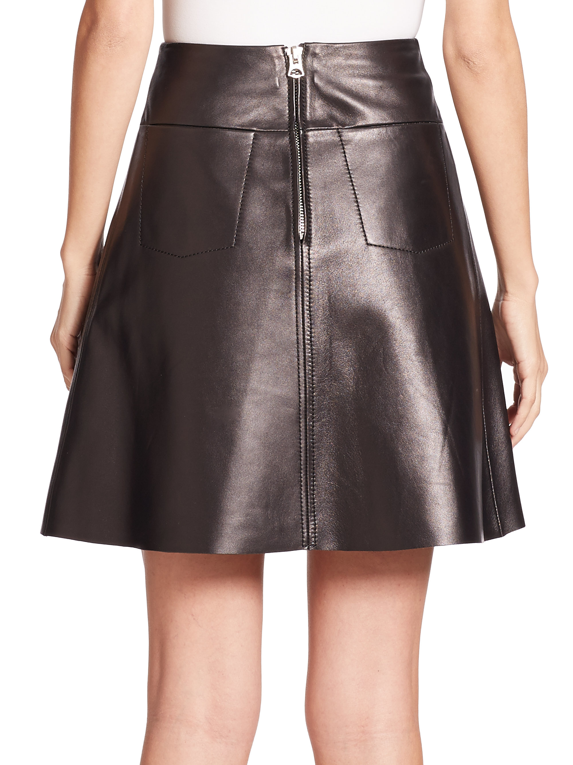Acne Leala Flared Leather Skirt in Black | Lyst