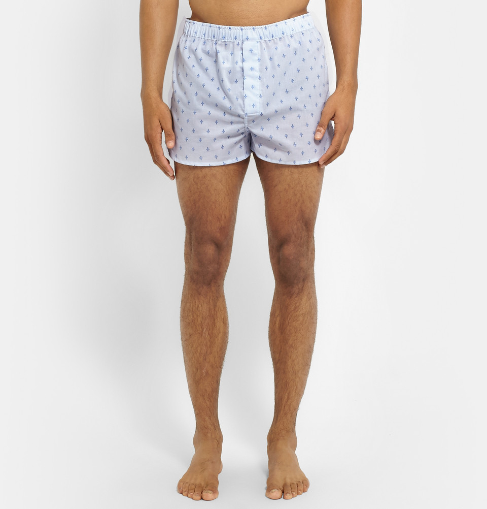 lyst derek rose fleur de lis printed cotton boxer shorts. Black Bedroom Furniture Sets. Home Design Ideas