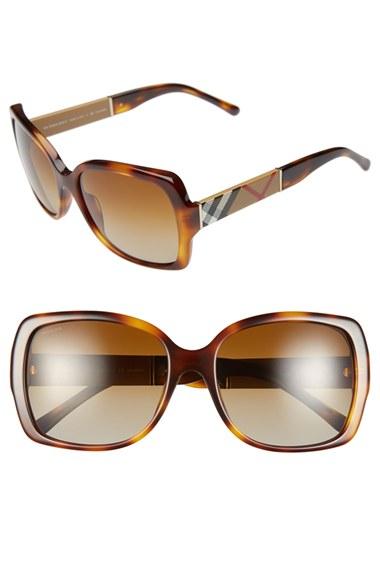 2405c3b3d6e9 Burberry 58mm Polarized Sunglasses - Havana in Brown   Lyst Polarized  BURBERRY Sunglasses B 4117 3001/T3 58-14 Black w/ Grey Fade