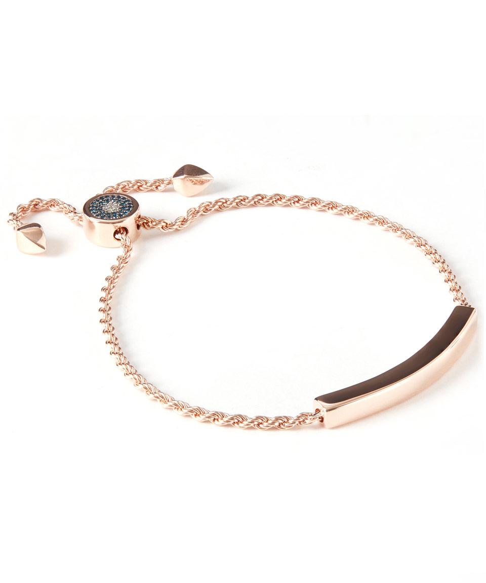 Linear Blue & White Diamond Evil Eye Toggle Bracelet Monica Vinader F1VGS8b2xv