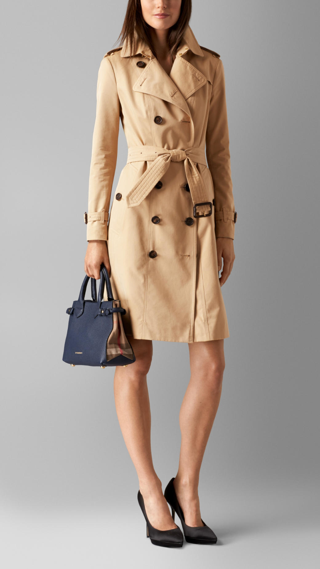 711c400fc4c8 Lyst - Burberry The Small Banner In Leather And House Check in Blue
