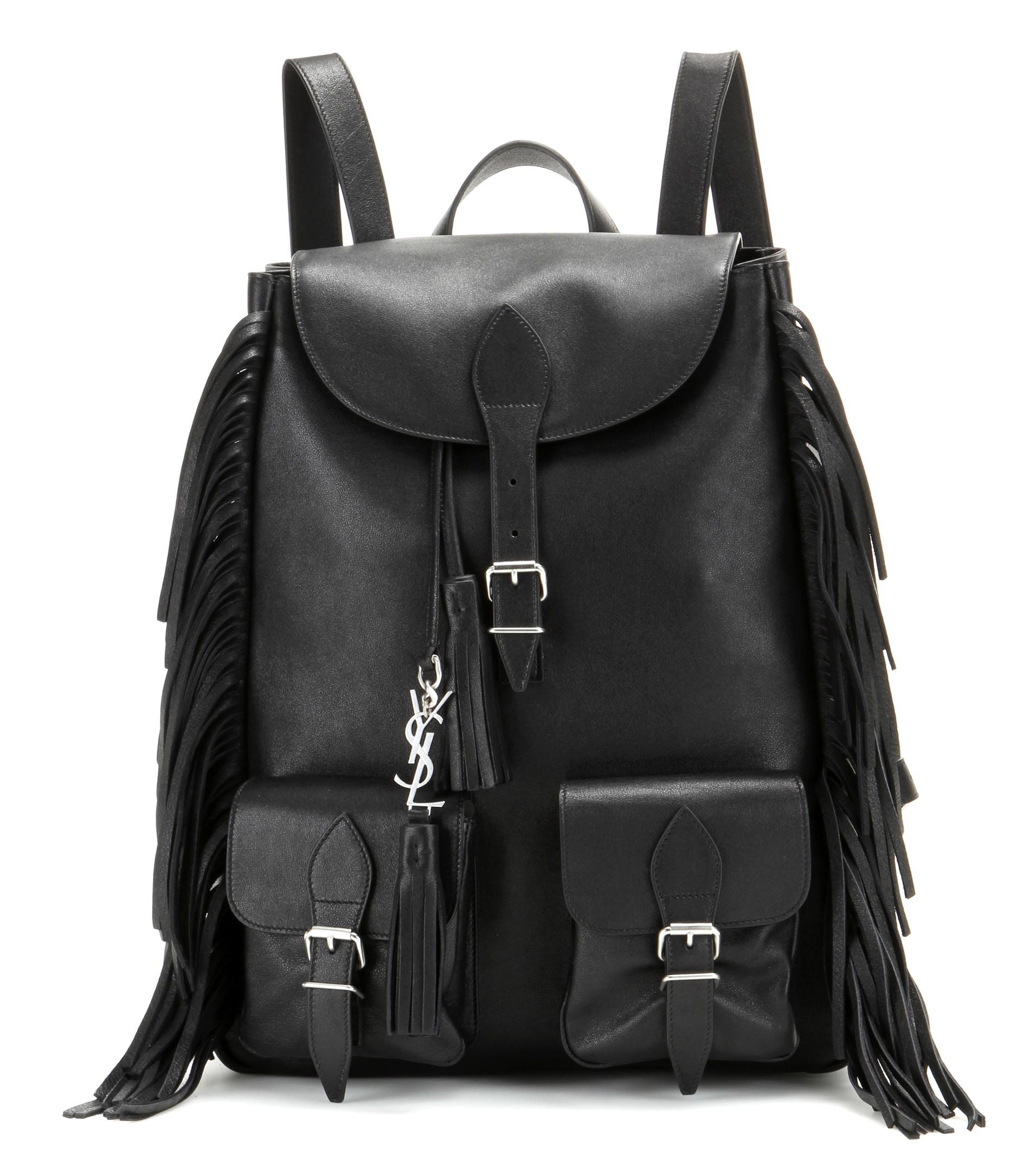 d1165ebb3b Lyst - Saint Laurent Fringed Leather Backpack in Black