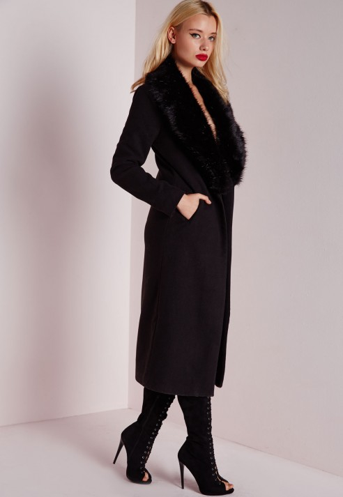 Missguided Longline Faux Wool Coat With Faux Fur Collar Black in ...