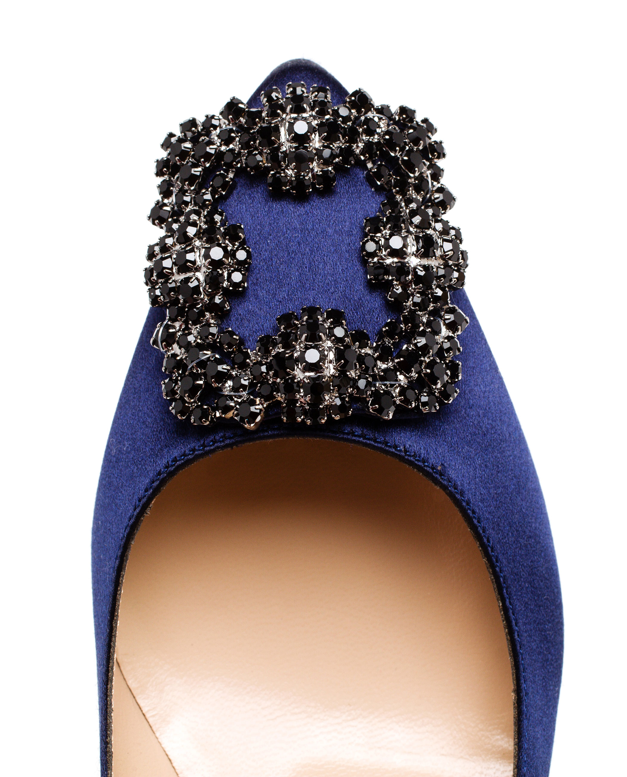manolo blahnik hangisi blue embellished satin pumps