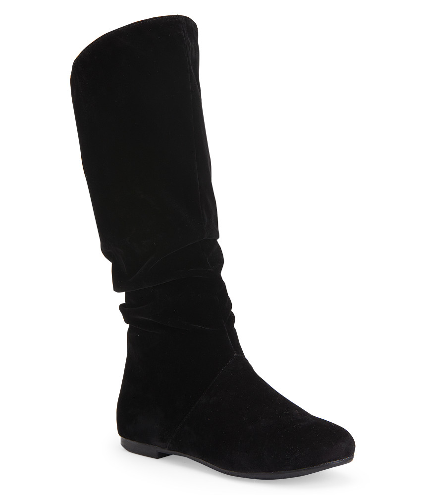 blue suede shoes faux suede scrunched boot in black lyst