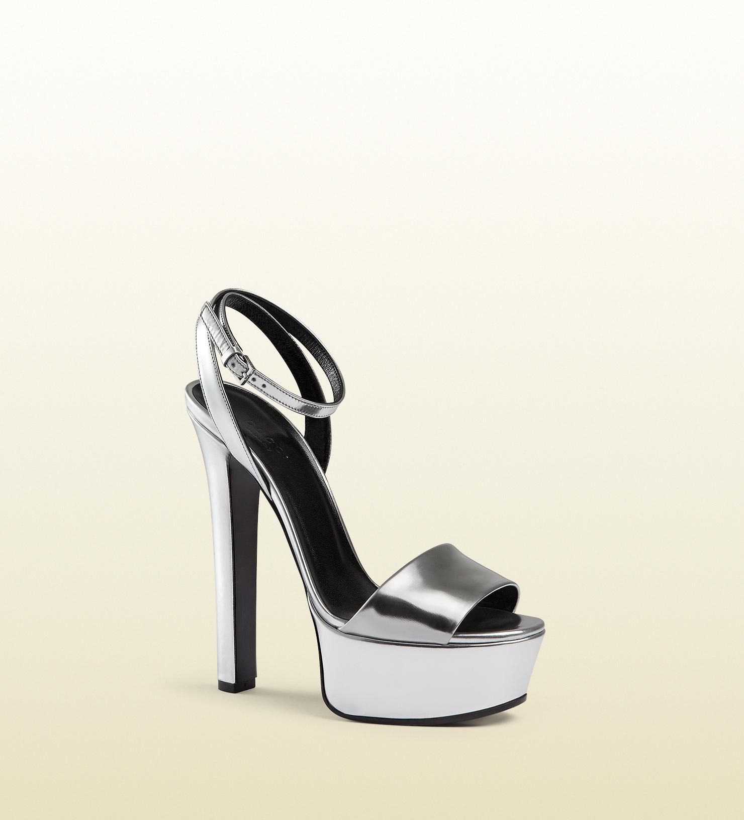 39b3e4c81db Lyst - Gucci Metallic Leather Platform Sandal in Metallic