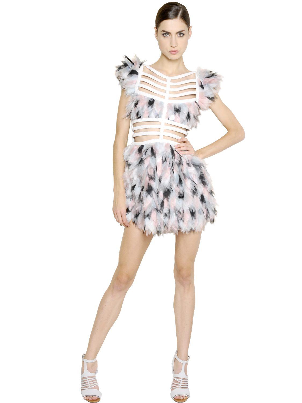 Lyst Fendi Feather Effect Silk Organza Cage Dress In White