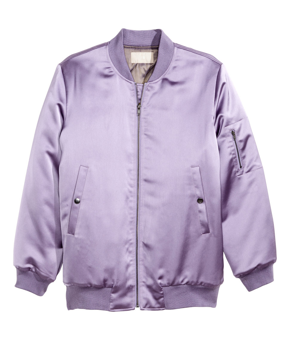H&m Padded Bomber Jacket in Purple | Lyst