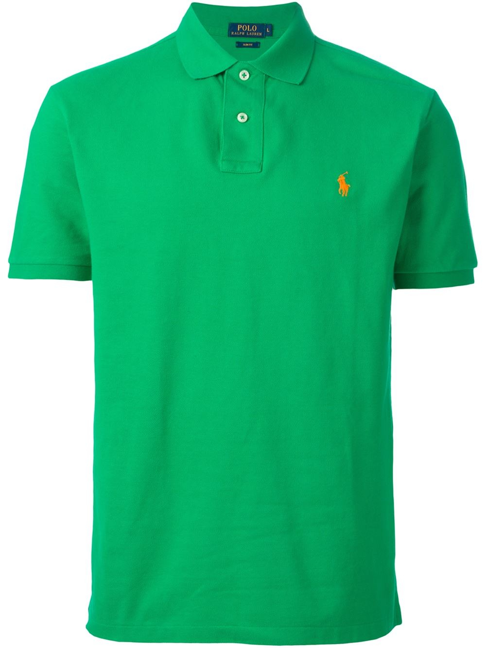 Polo ralph lauren embroidered logo polo shirt in green for for Polo shirts with embroidery