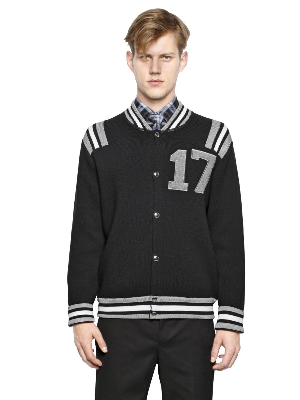 givenchy 17 wool sweater bomber jacket in black for men lyst. Black Bedroom Furniture Sets. Home Design Ideas