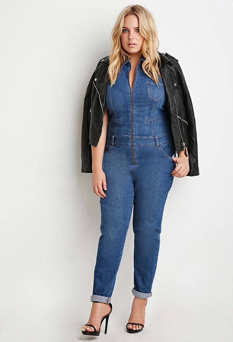 Forever 21 Plus Size Zip Front Denim Jumpsuit In Blue Lyst