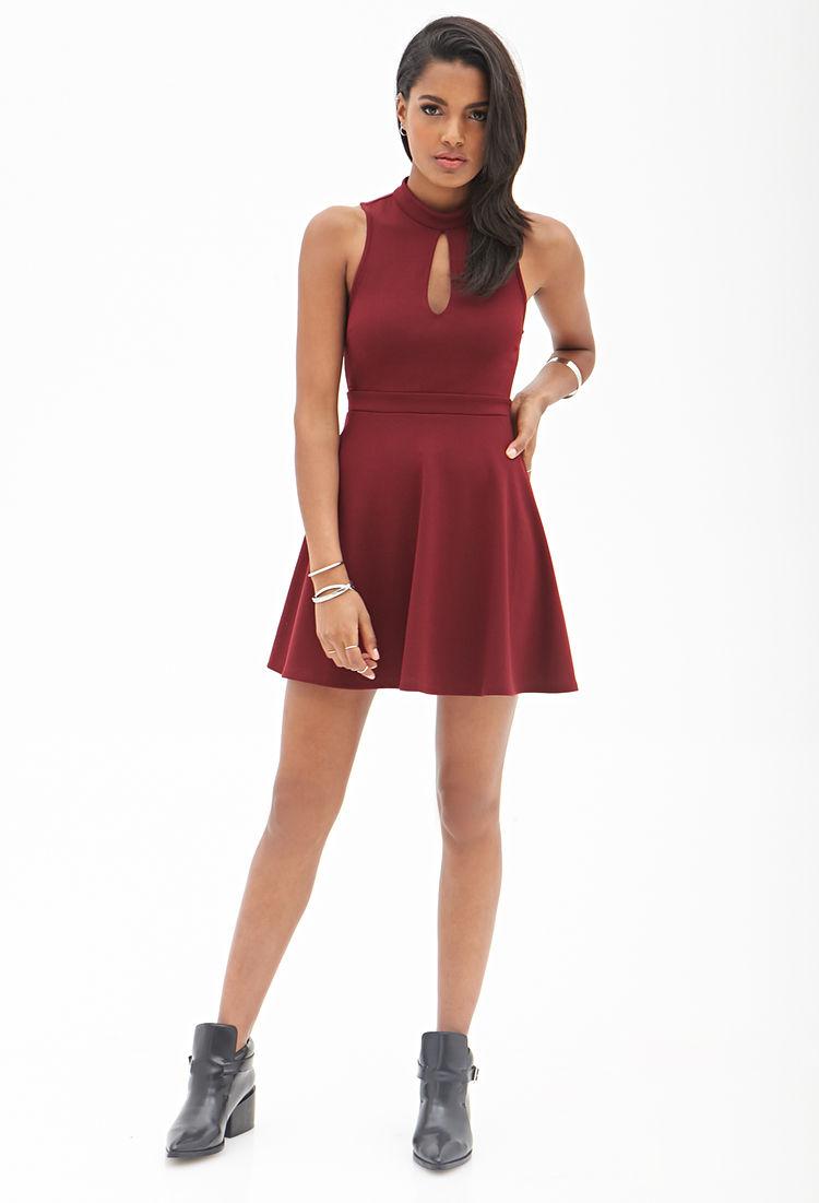676bccda8b Lyst - Forever 21 Keyhole Skater Dress in Red