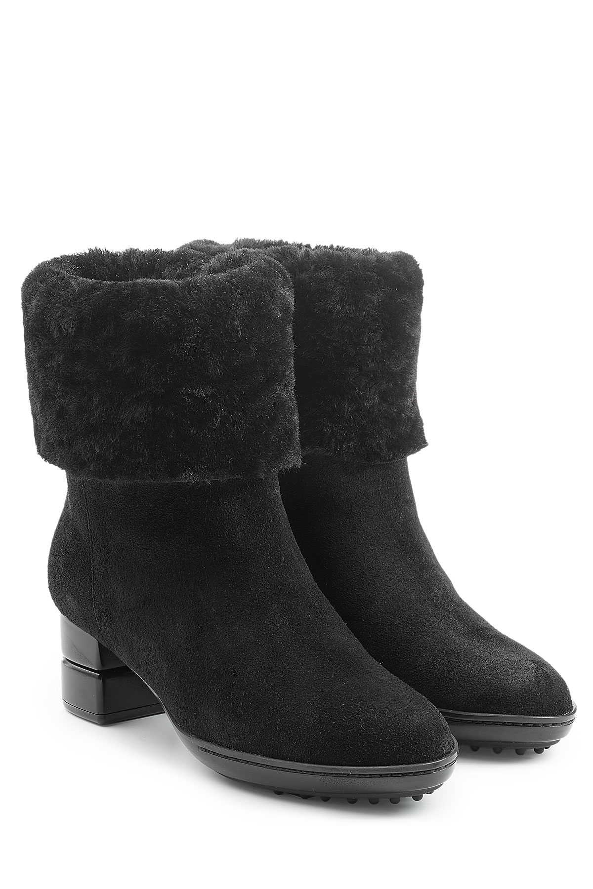 ferragamo suede ankle boots with sheepskin black in
