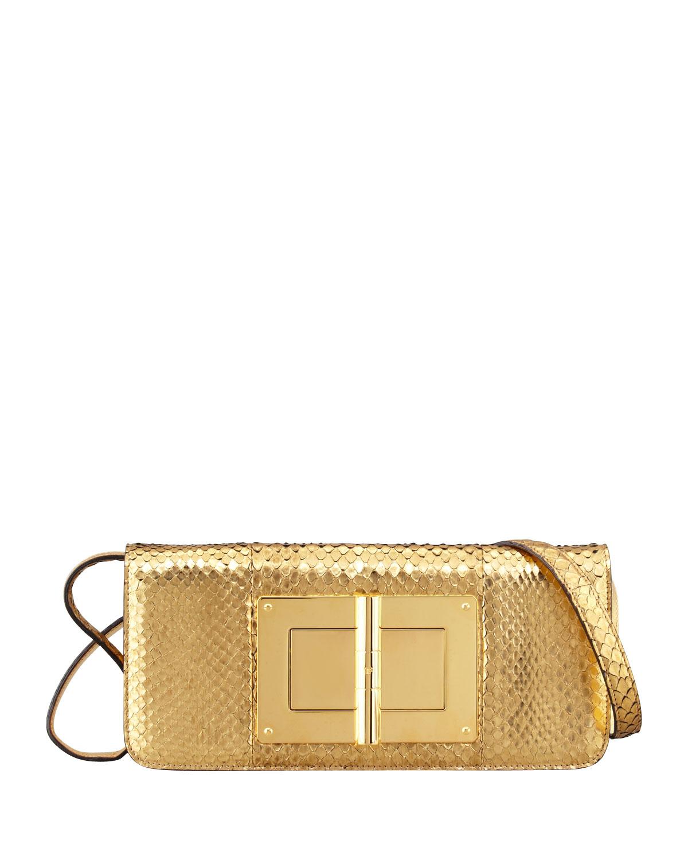 4de73fb4c89 Lyst - Tom Ford Natalia Eastwest Python Shoulder Bag Gold in Metallic