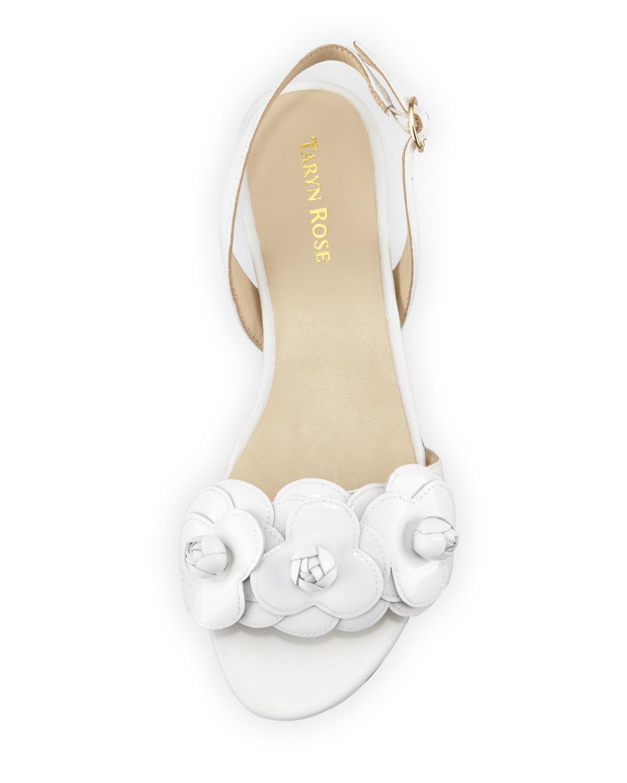 cc19a3c120adc Lyst - Taryn Rose Ida Flower Flat Slingback Sandal in White