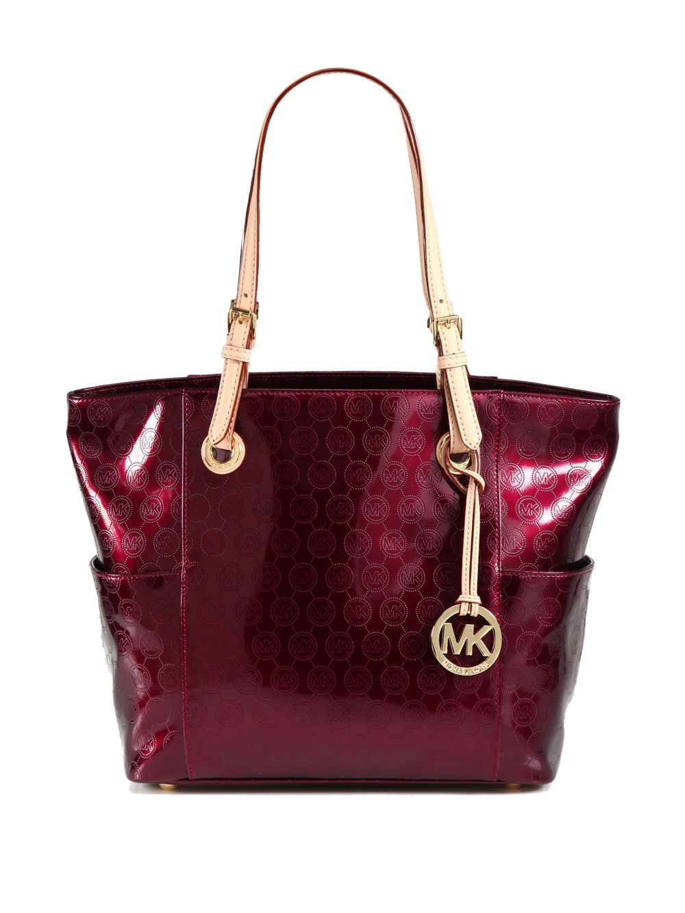 lyst michael michael kors signature patent leather tote in red. Black Bedroom Furniture Sets. Home Design Ideas