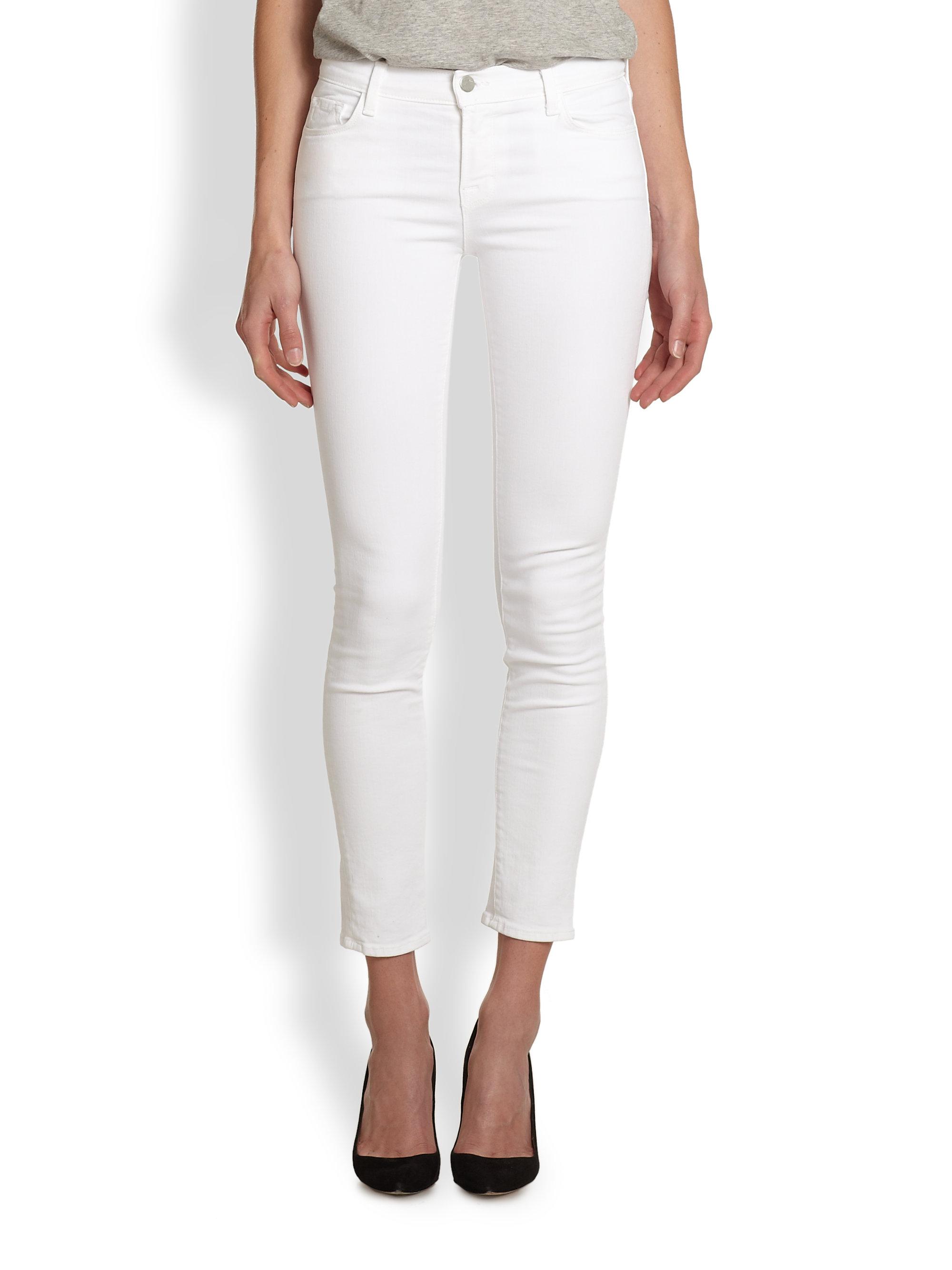 J brand 811 Midrise Skinny Jeans in White | Lyst