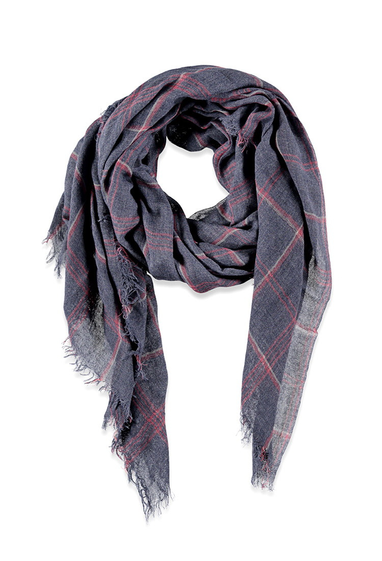 forever 21 fringed plaid scarf in blue lyst