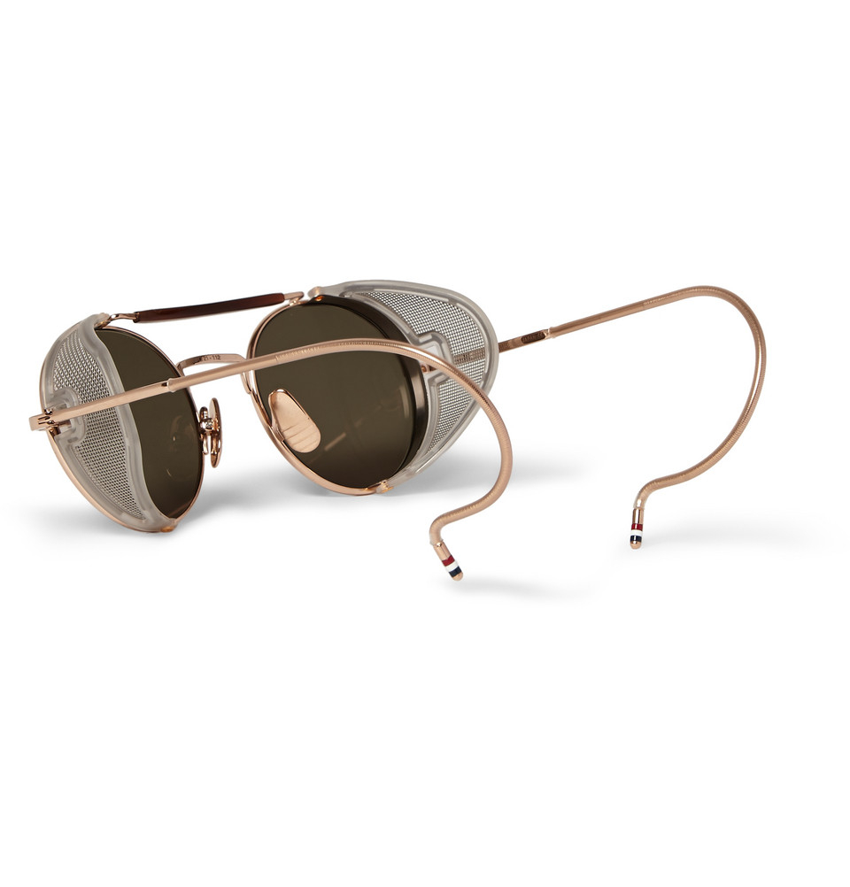 Men s Round Gold Frame Sunglasses : Thom browne Round-Frame Gold-Tone Sunglasses in Black for ...