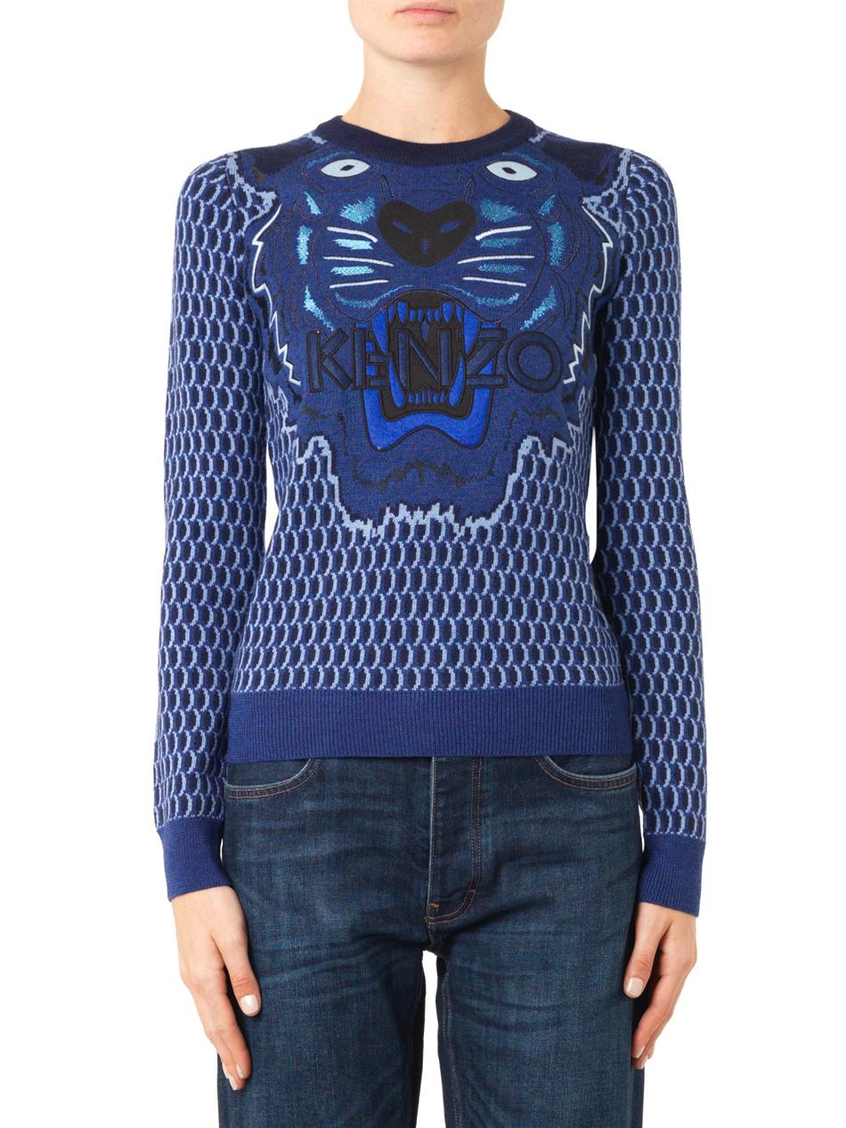 kenzo tiger embroidered wool sweater in blue lyst. Black Bedroom Furniture Sets. Home Design Ideas