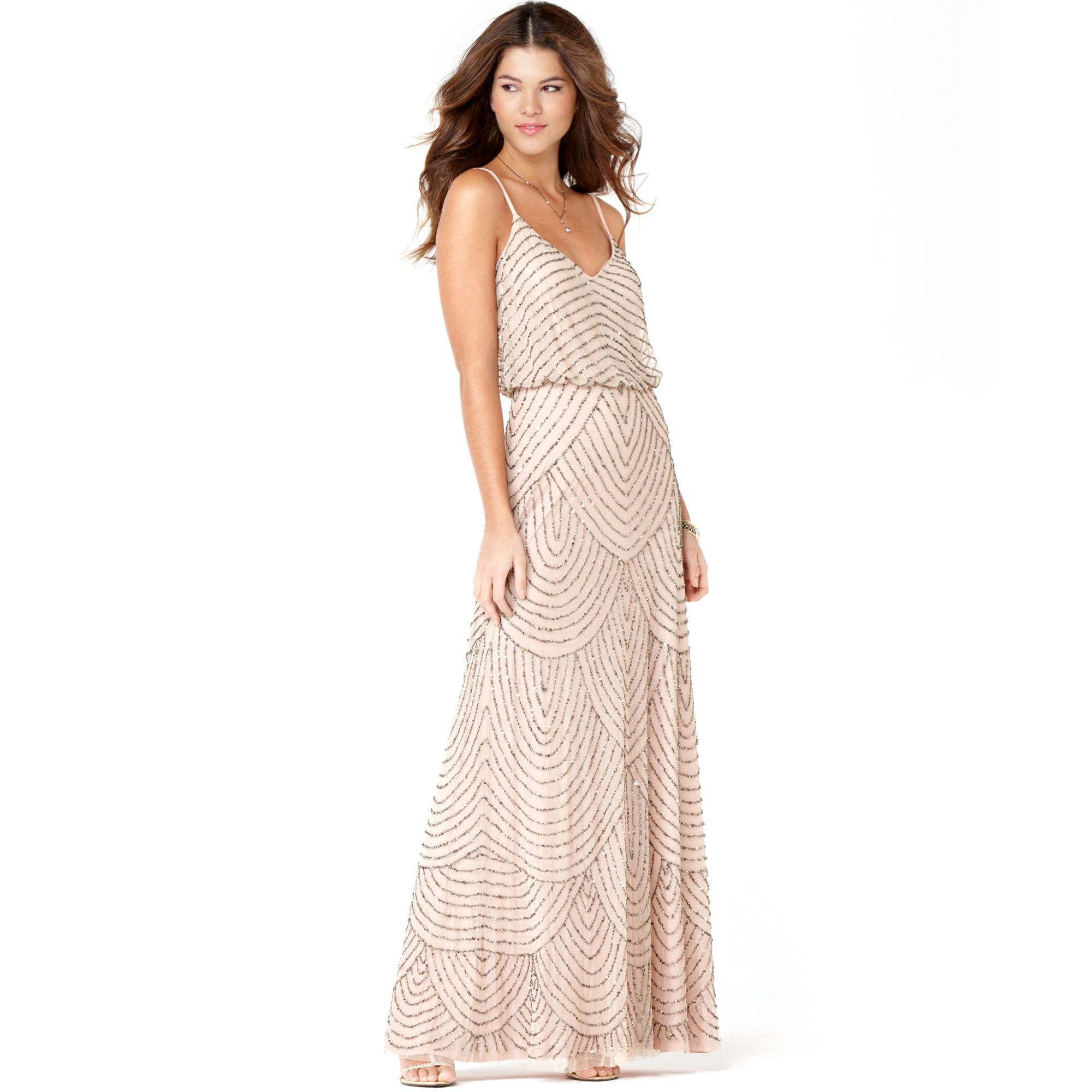 Adrianna Papell Spaghetti Strap Beaded Blouson Gown In