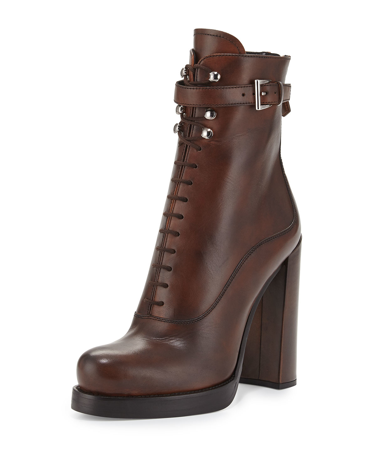 prada lace up leather ankle boots in brown lyst