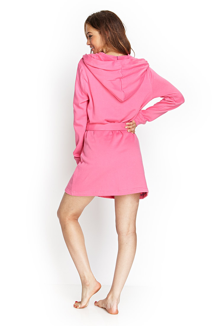 995cfd29e0 Lyst - Forever 21 Hooded Terrycloth Robe in Pink