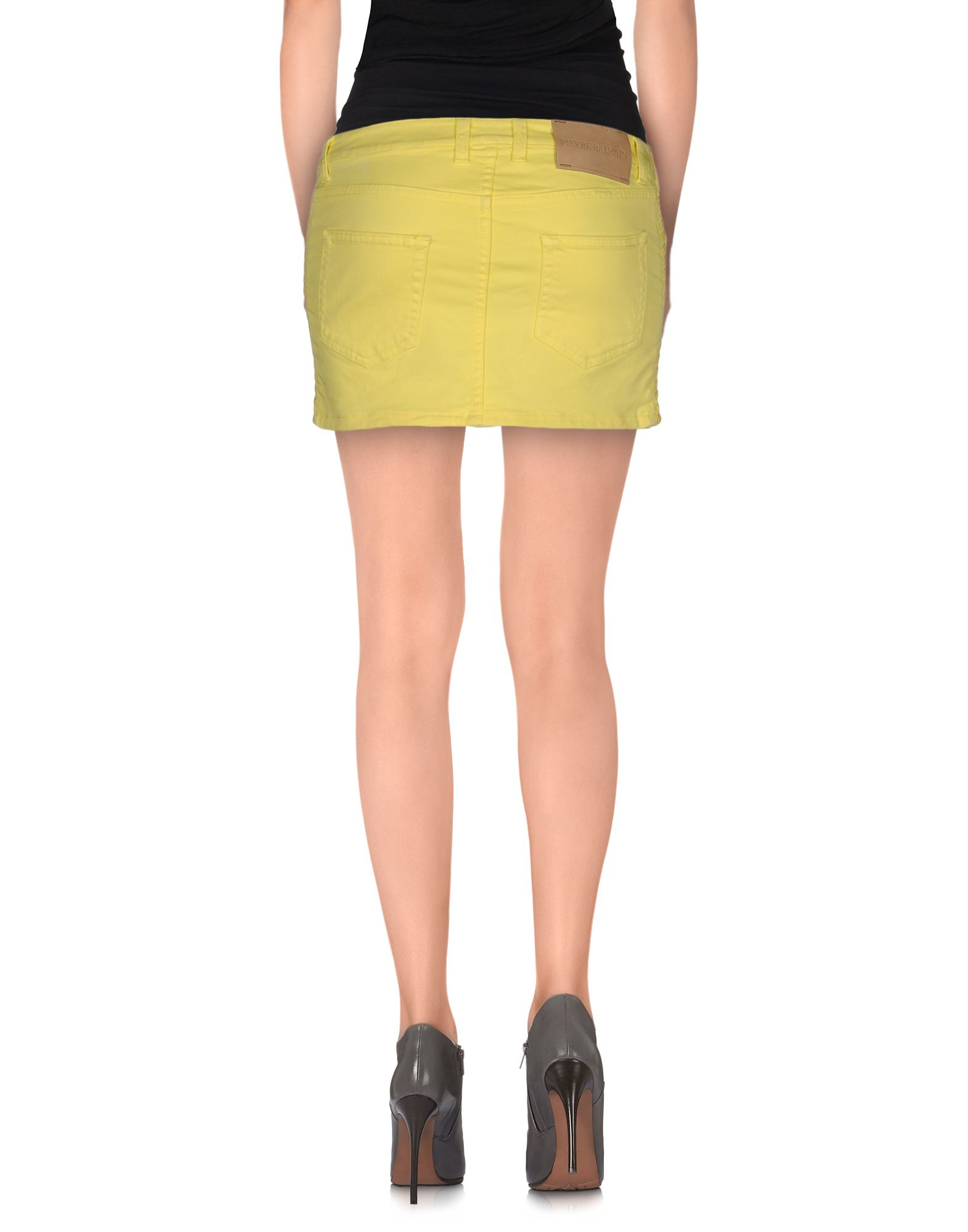 balmain denim skirt in yellow lyst