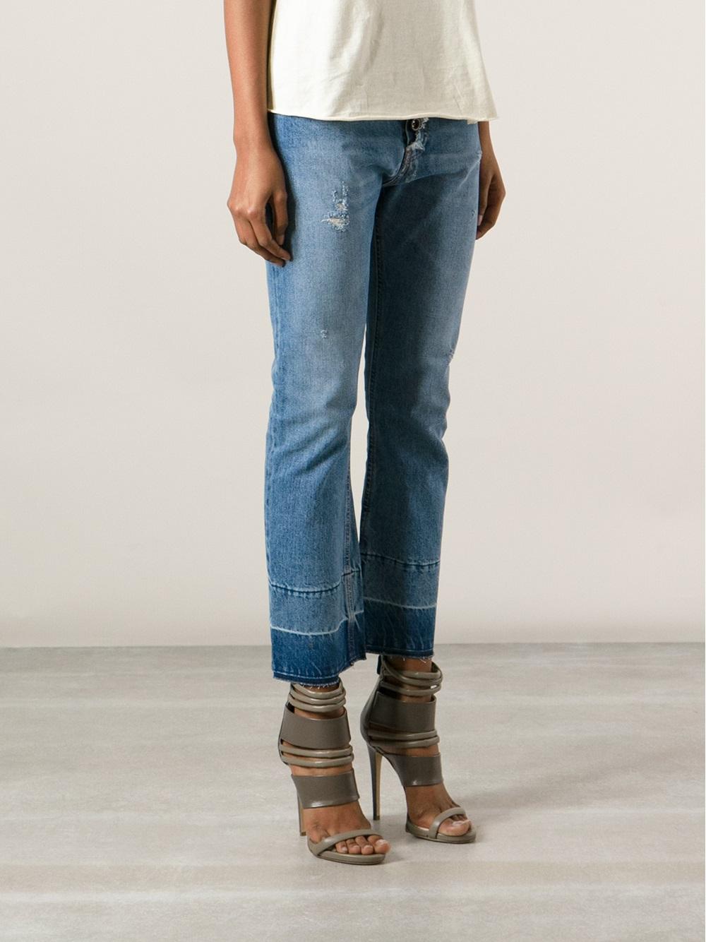 Erika cavallini semi couture Distressed Cropped Bootcut Jean in ...