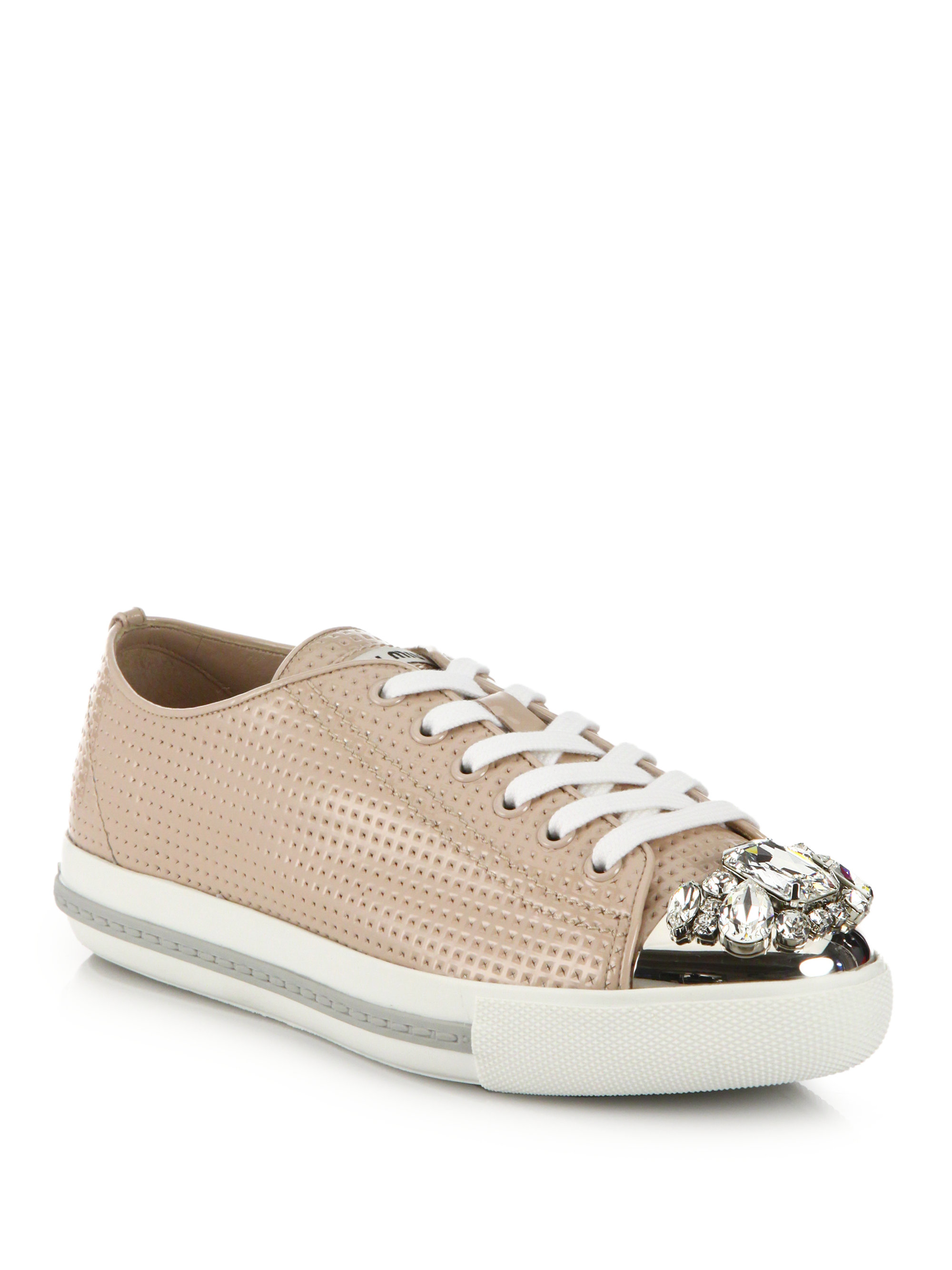 Womens Crystal-Striped Leather Platform Sneakers Miu Miu dR9as21W
