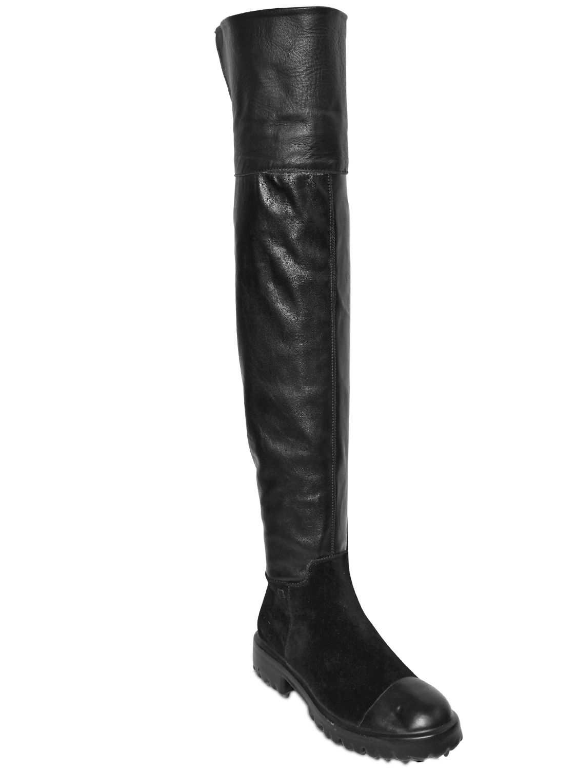 collection priv 233 e 40mm stretch faux leather boots in black